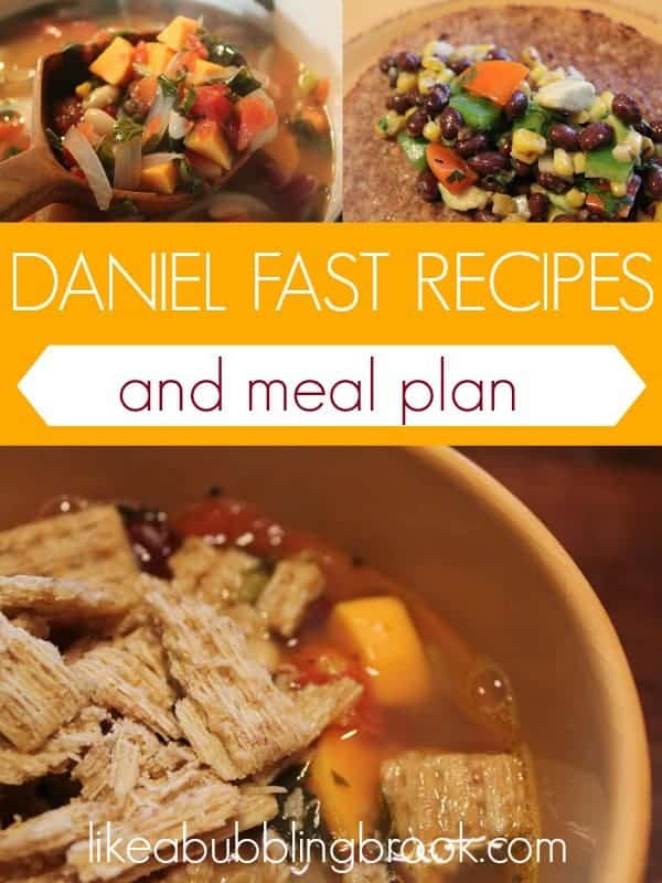 DANIEL FAST RECIPES AND MEAL PLAN