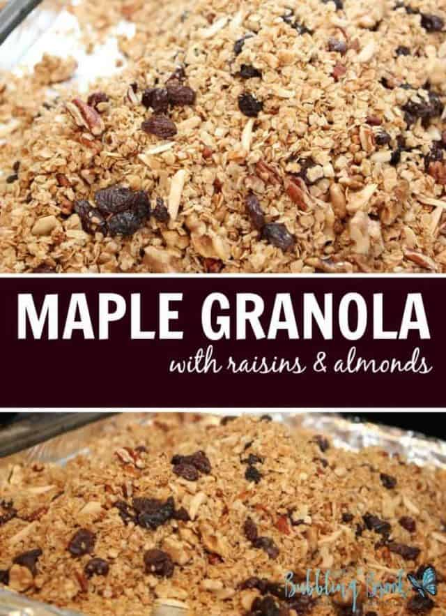 This easy maple granola recipe uses real maple syrup, along with juicy raisins and slivered almonds. We're in love.