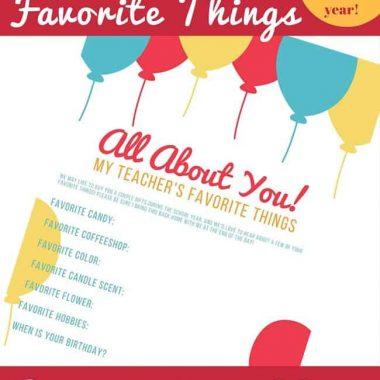 My Teacher's Favorite Things! FREE PRINTABLE