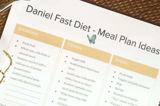 Daniel Fast food list ideas