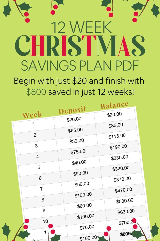 12 Week Christmas Savings Plan - pin for Pinterest