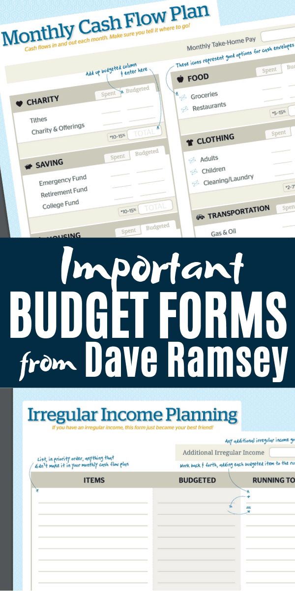 Dave Ramsey Forms - pin for pinterest