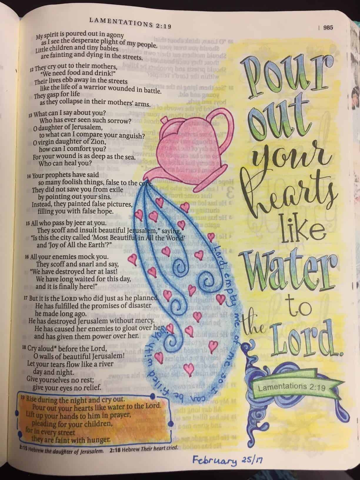bible art journaling ideas with teapot