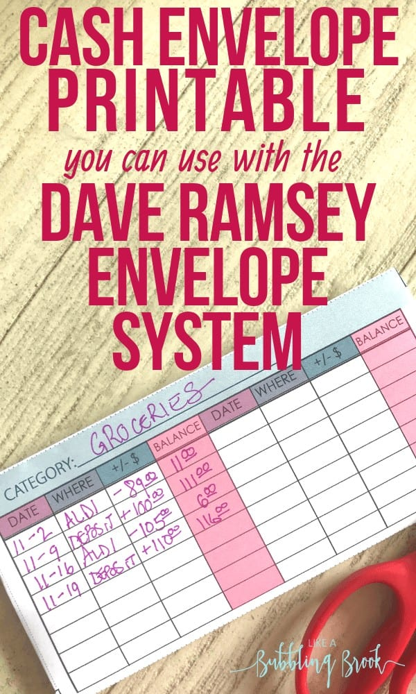 Dave Ramsey budgeting printables you can find online, like this printable cash envelope. Super cute!