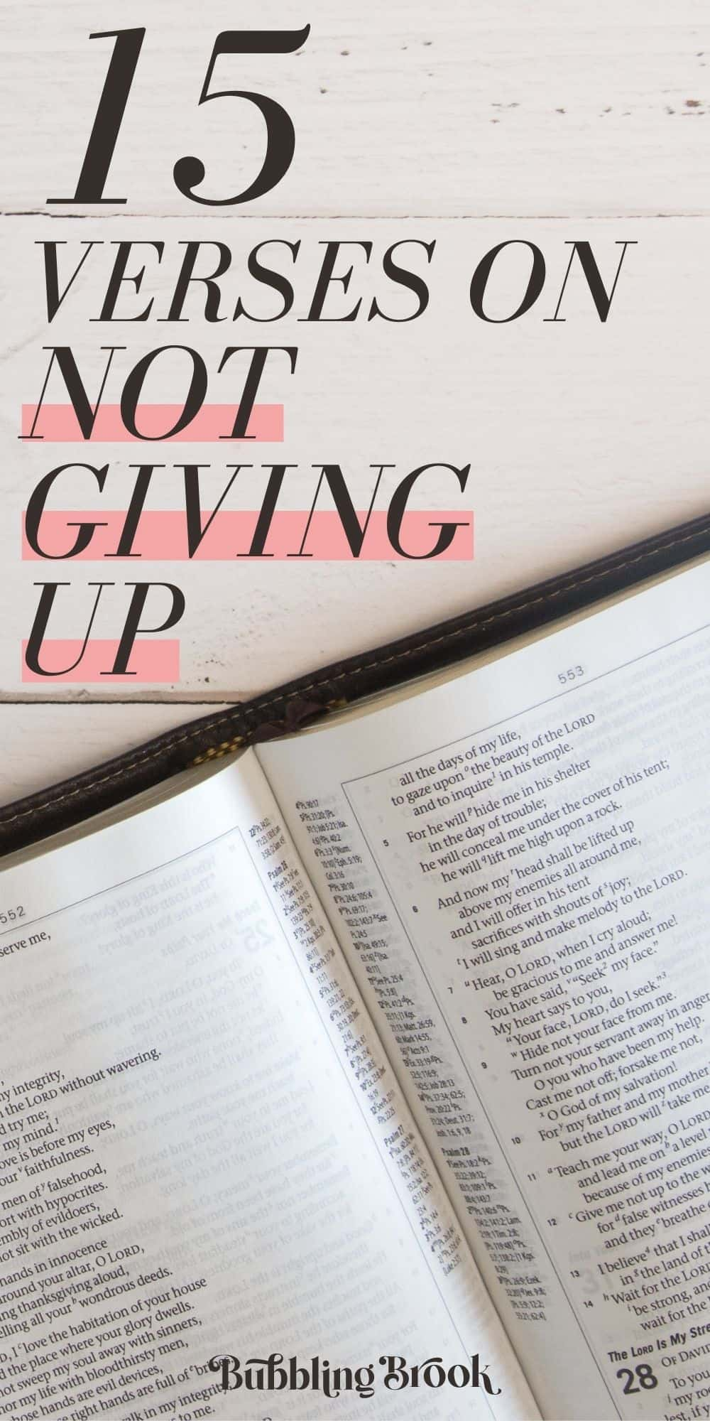 15 Verses on Not Giving Up - pin for Pinterest