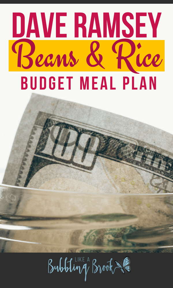 The Dave Ramsey meal plan for a rice and beans budget