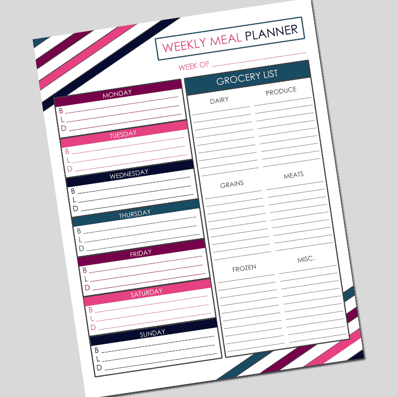 photograph about Weekly Meal Planning Printable known as Weekly Dinner Developing Printable - PDF