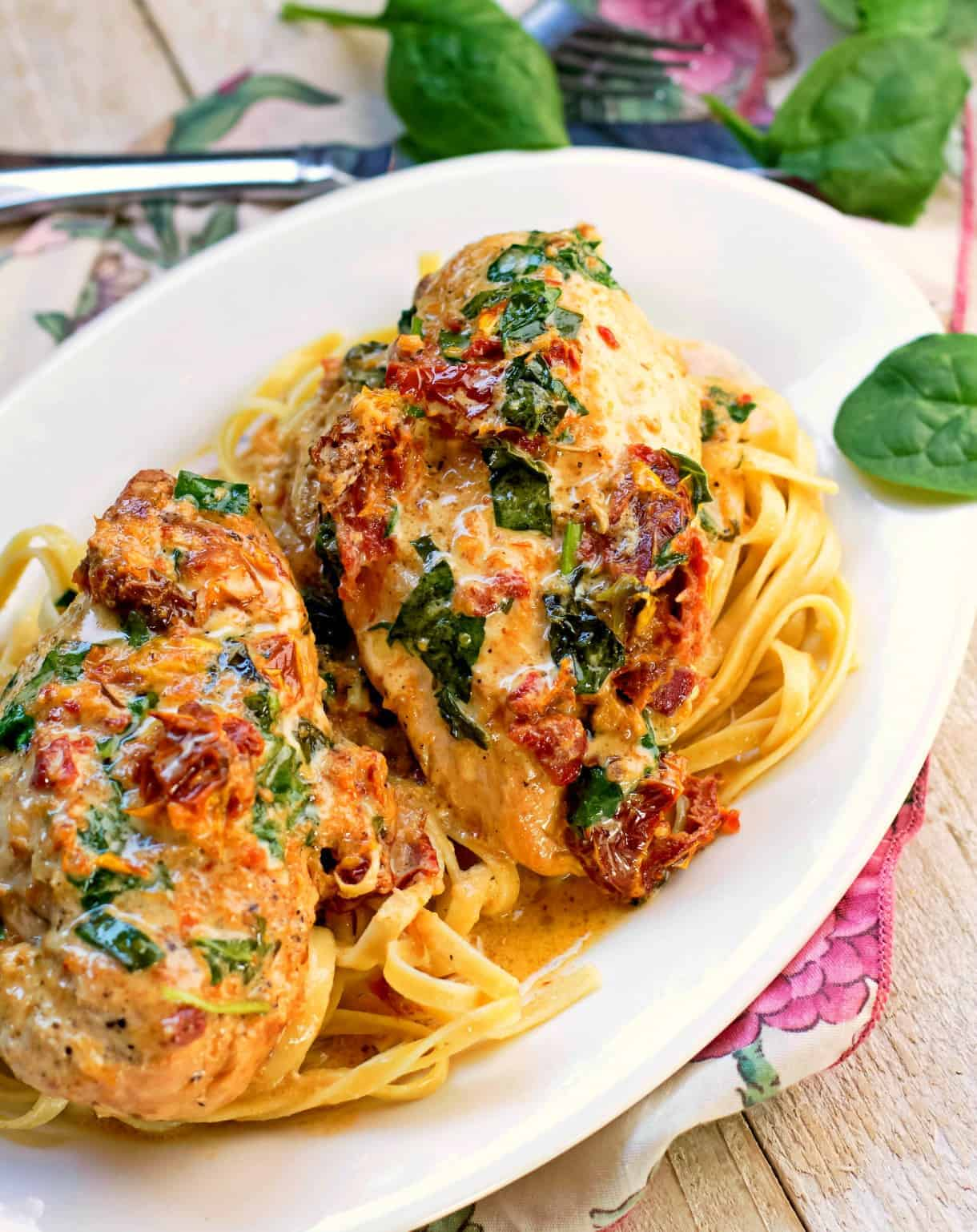 Tuscan chicken is one of the best easy crockpot recipes!