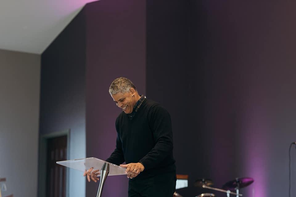 My husband, preaching