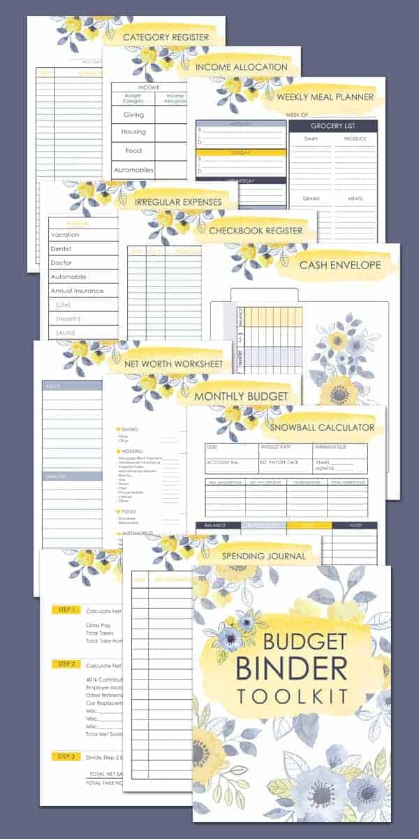 picture regarding Budget Printable named Funds Planner Toolkit in just Yellow Floral (Printable)