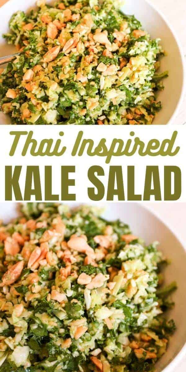 Cabbage and Kale Salad with Thai Inspired Peanut Dressing