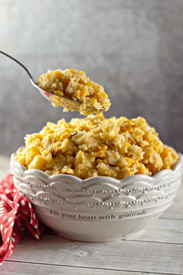 CrockPot Corn Casserole in a serving dish