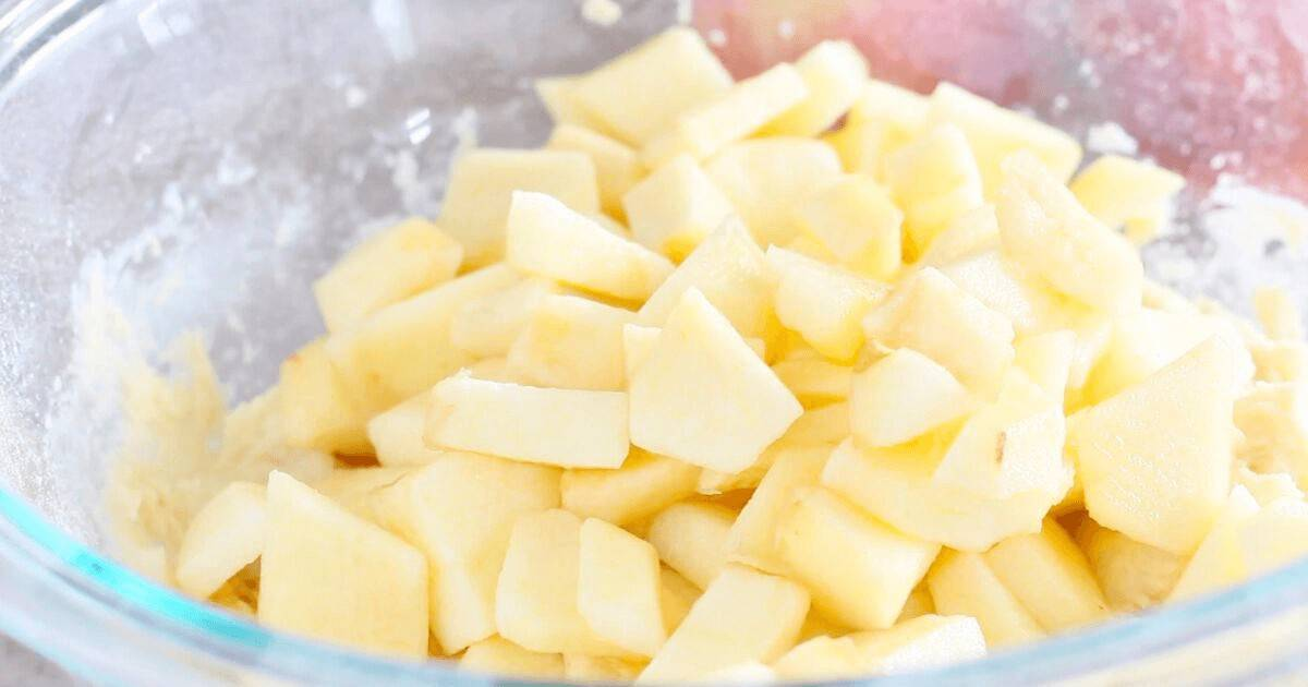 Chopped apples for donut recipe