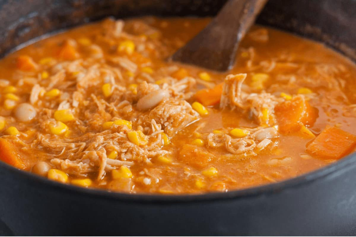 Peanut Butter Soup recipe simmering in a pot