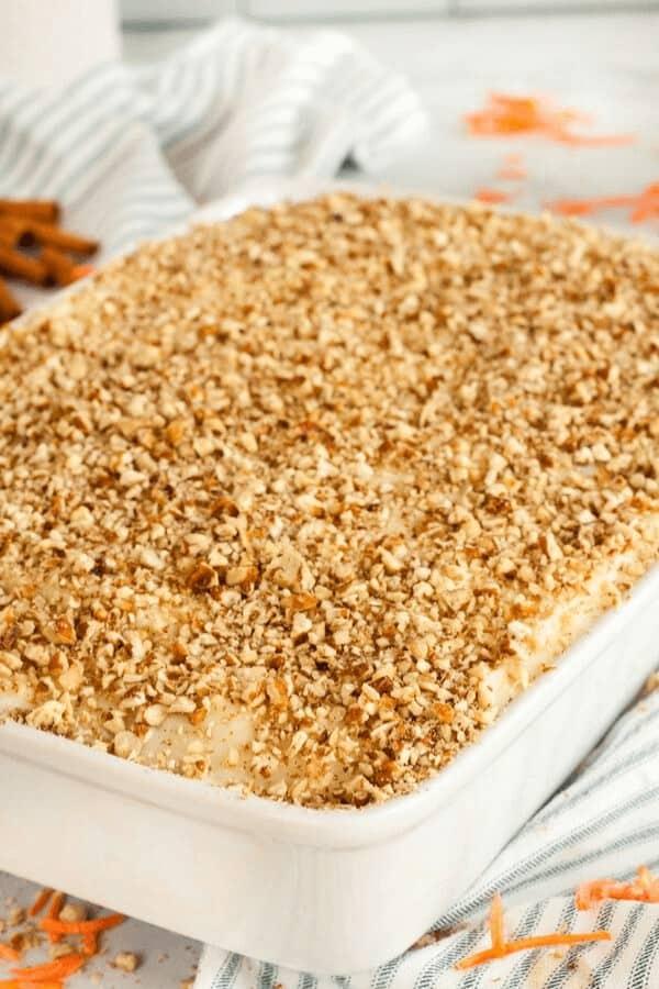 Carrot cake in 9x13 baking dish