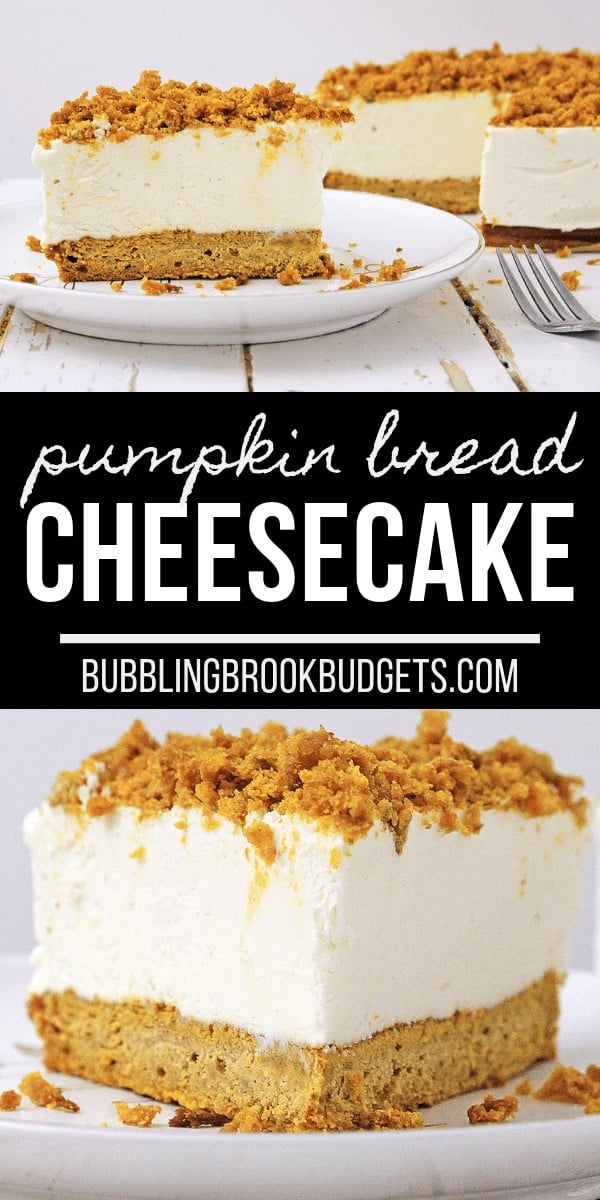 If you love pumpkin bread and cheesecake, you're going to love this Pumpkin Bread Cheesecake recipe! It's delicious, unique, and makes a fabulous Fall dessert.