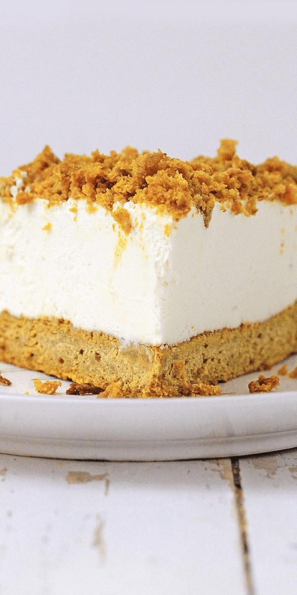 Pumpkin bread cheesecake, up close
