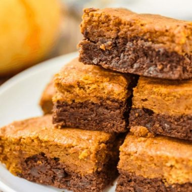 Pumpkin Chocolate Chip Brownies on a plate