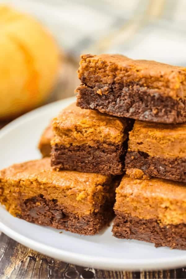 Pumpkin Chocolate Chip Brownies on a plate