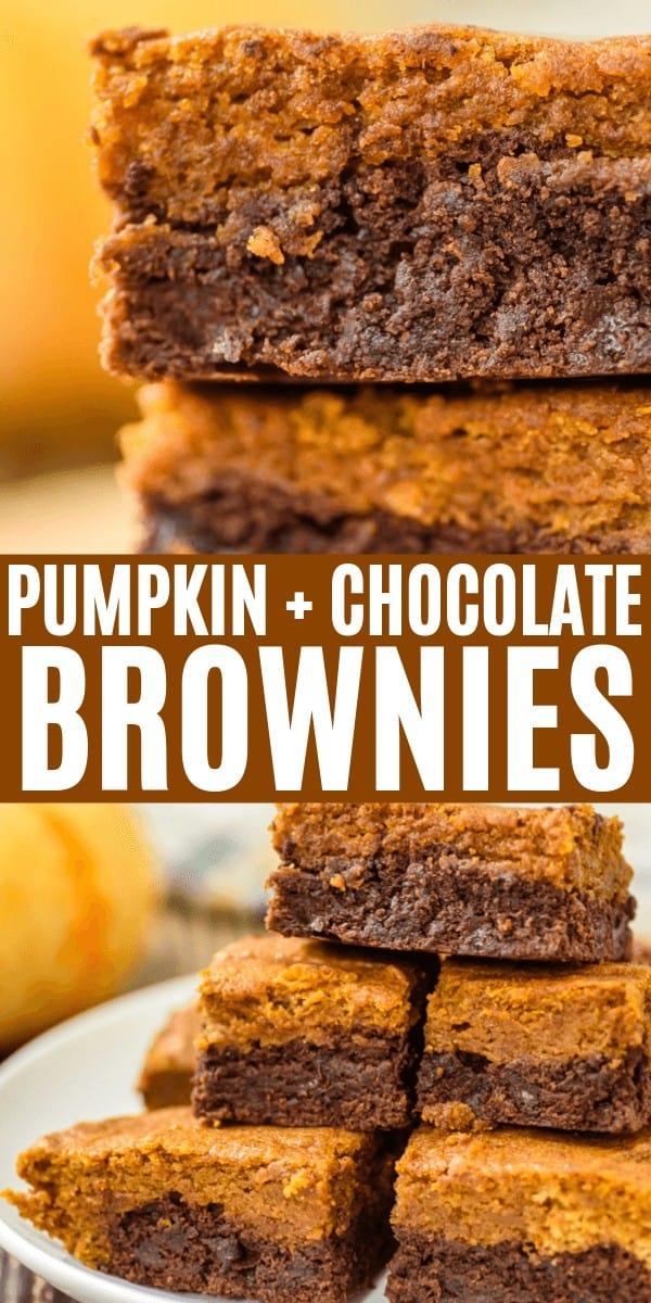 Pumpkin Chocolate Chip Brownies / Pumpkin Bars pin for pinterest