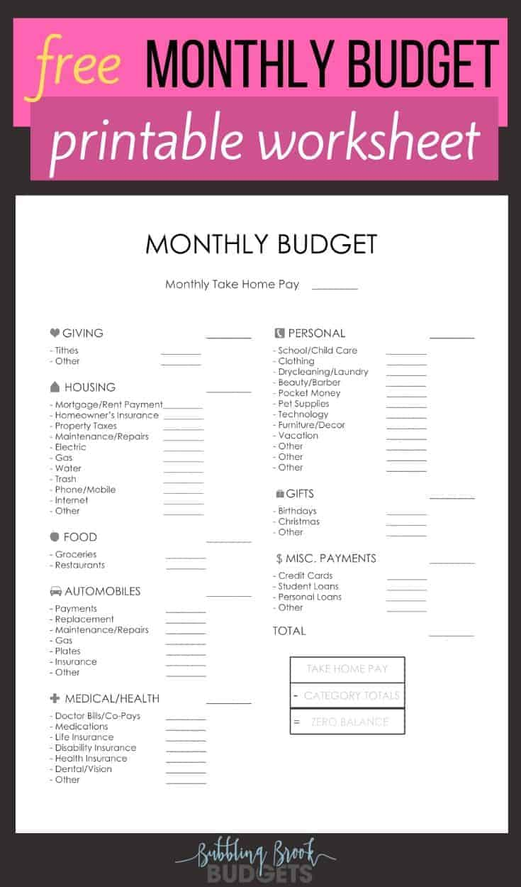 Free monthly budget printable pin for pinterest