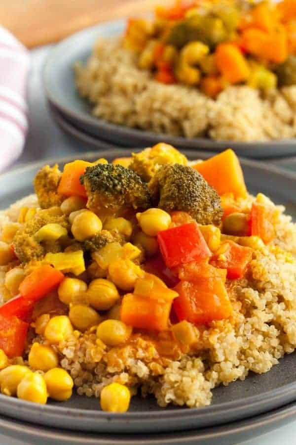 Vegetable curry on a plate
