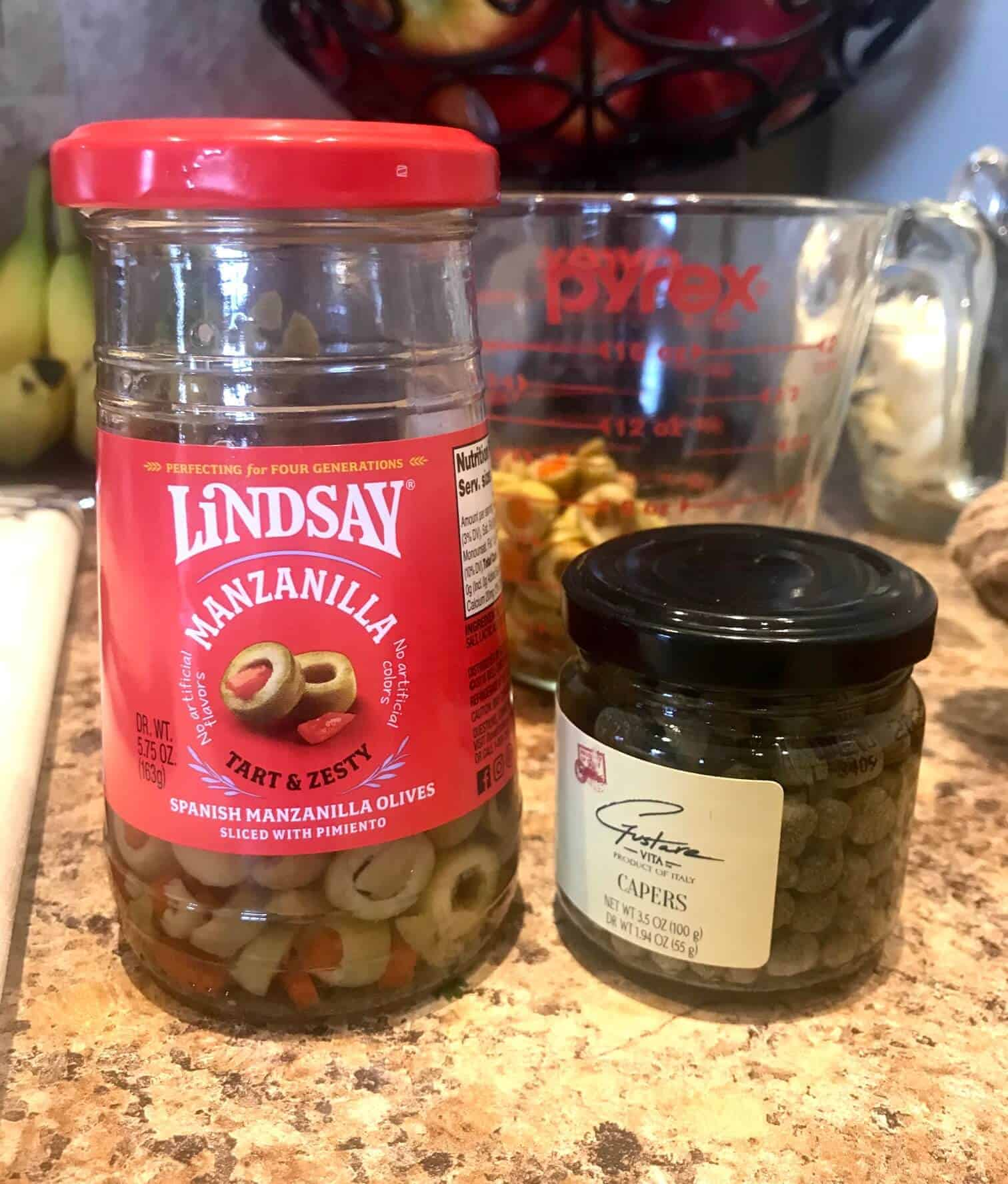 Jars of olives and capers