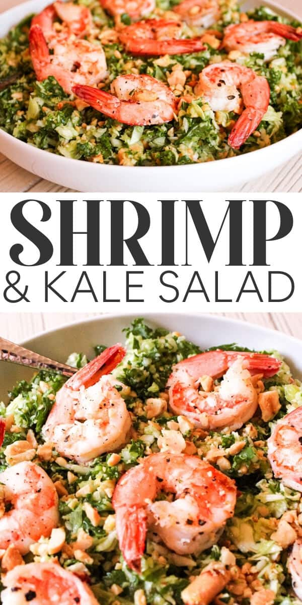Shrimp & Kale Salad recipe - pin for pinterest