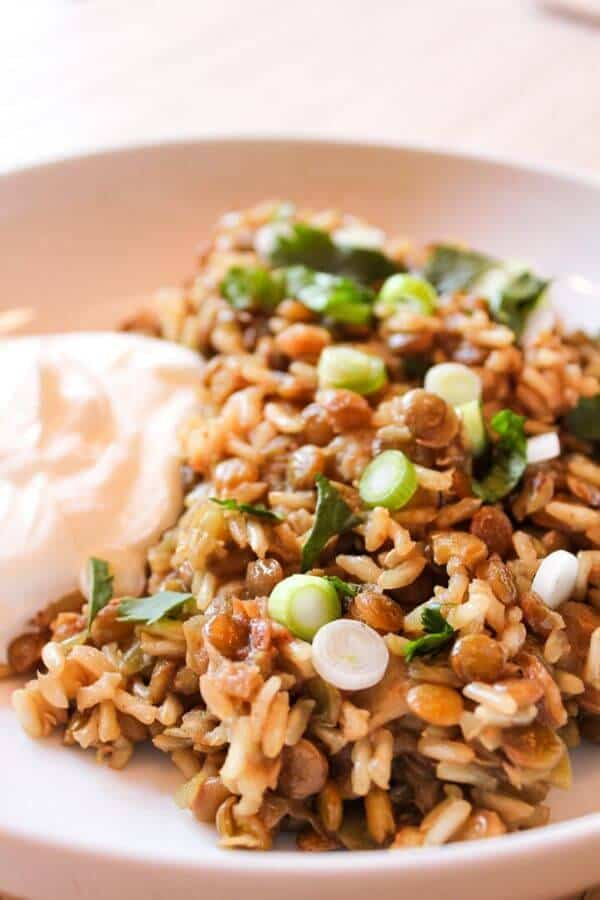 Lentils and rice topped with cilantro and green onions