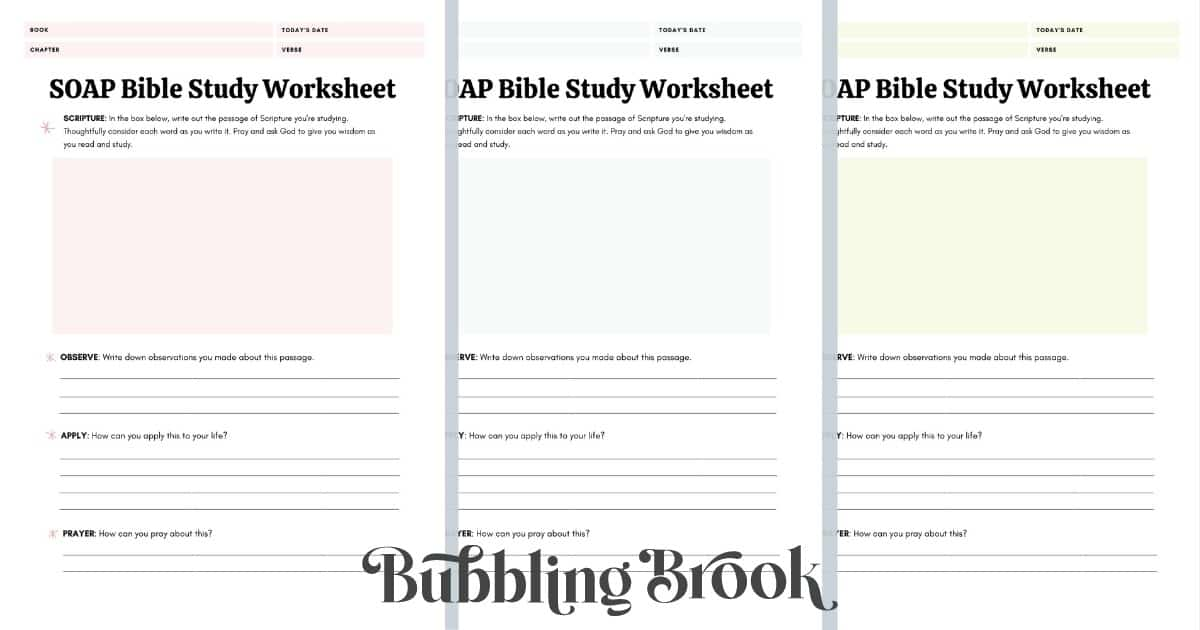 Study the Bible (Beginner Worksheets)
