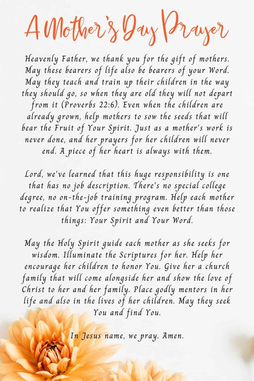 A Mother's Day Prayer For All Mother's