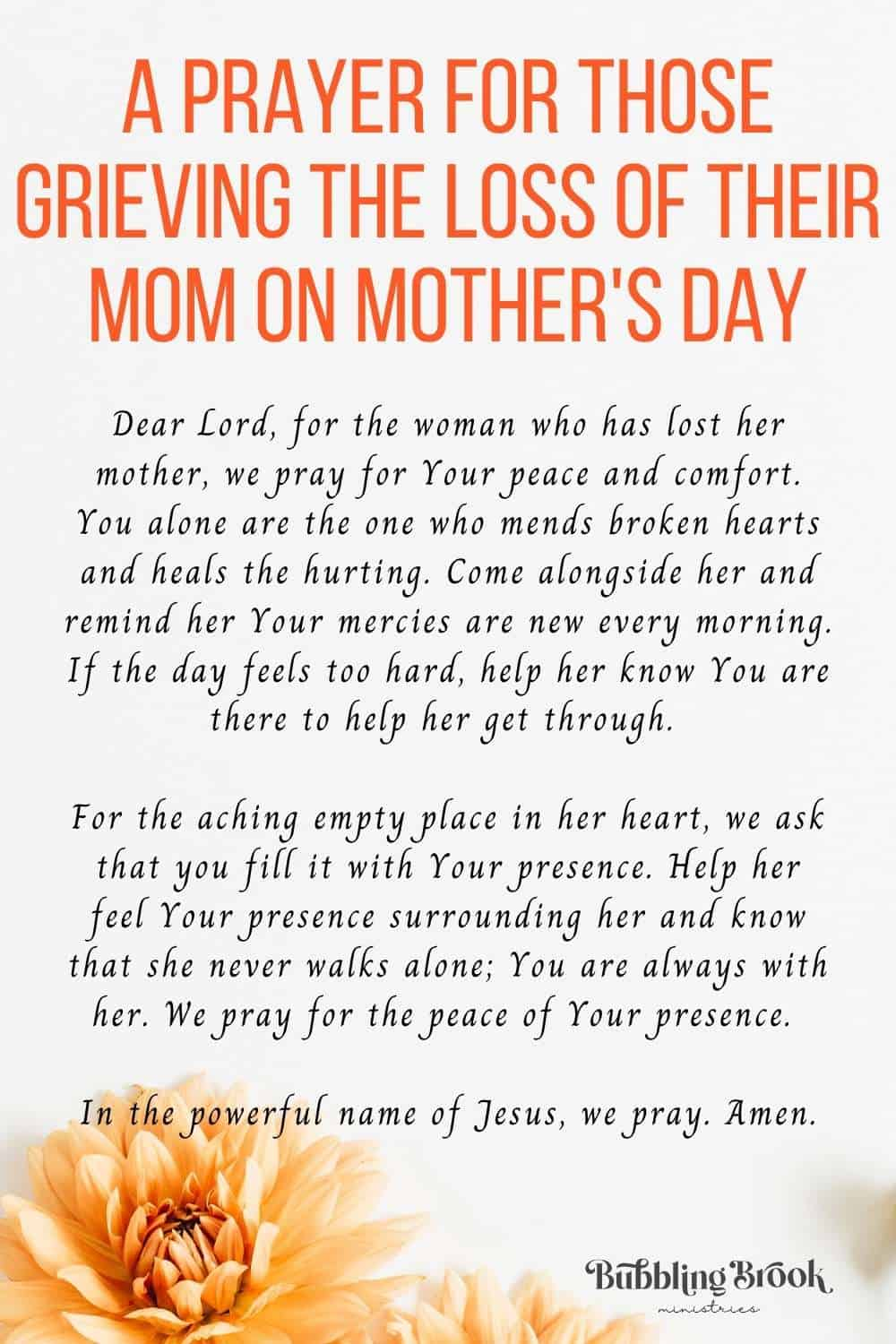 A Prayer For Those Grieving the Loss of their Mom on Mother's Day