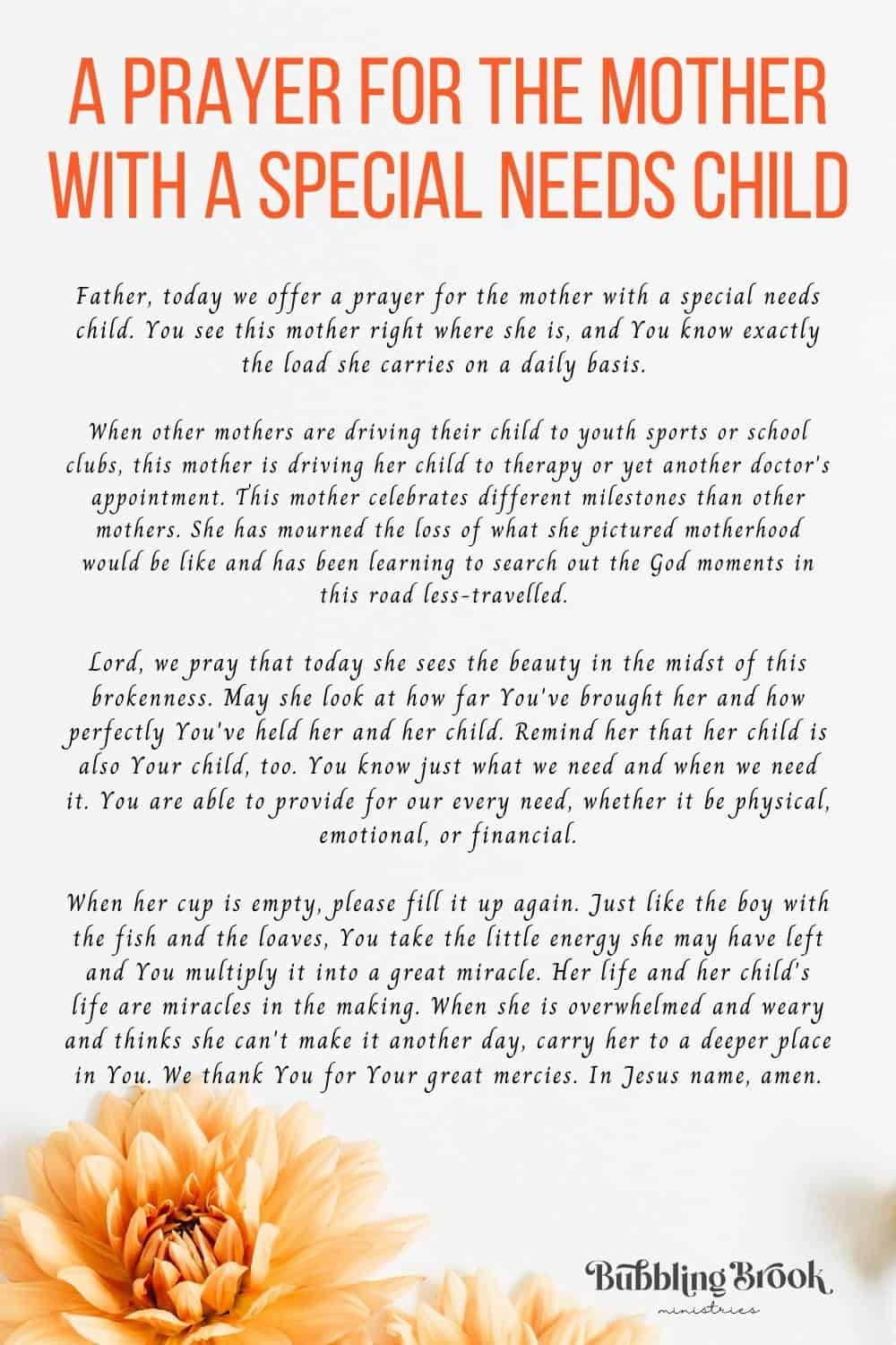 A Prayer For the Mother With a Special Needs Child
