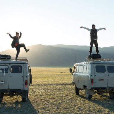 couple traveling by van