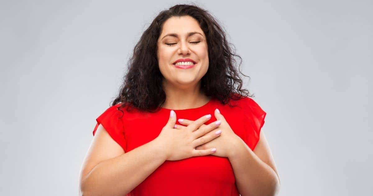 Grateful woman smiling